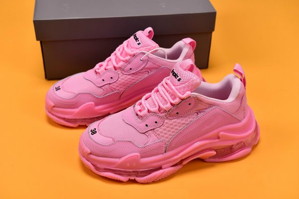 Triple S 3.0 Pink Paris casual Designer Shoes Clunky outdoor sneakers Air cushion bottom Latest release purple blue woman color And blue ct5
