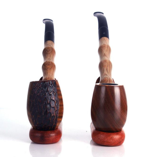 A variety of special Carved Green Sandalwood pipe long stick bamboo smooth solid wood shape wood polished dry tobacco pole