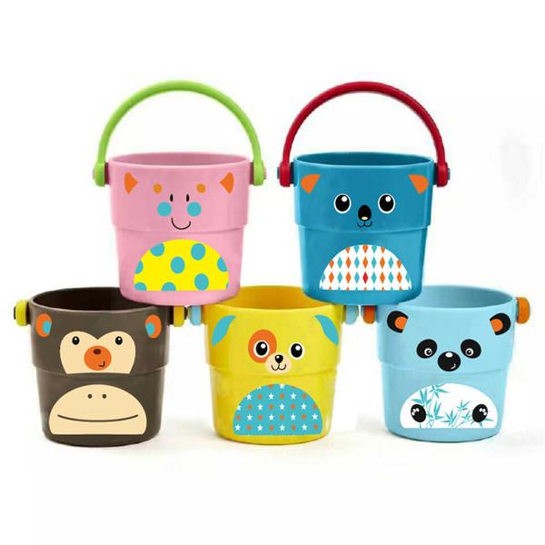 Mini Stack Versare Secchi Giocattoli da bagno per bambini Secchi Cartoon Giocattoli da vasca per bambini Spruzzare Attrezzi per acqua Vendita calda