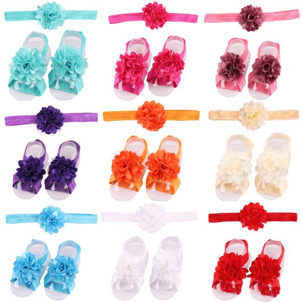 Baby Sandals Flower Shoes Barefoot Foot Flower Ties Infant Girl Kids First Walker Shoes Headband Set Solid Color Baby Headbands