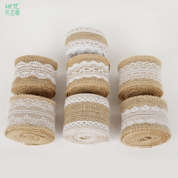 5cm 2m/roll Natural Ribbon with Cotton Lace DIY Trim FabricS For Sewing Wedding Decoration Accessories