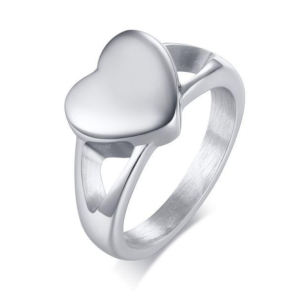 JHSL Inner Empty Cute Heart Shape Silver Color Female Women Rings Fashion Jewelry Stainless Steel Large Size 6 7 8 9