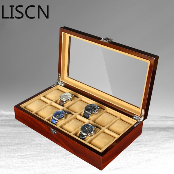 New 12 Grid Wooden Watch Box Storage Case Organizer Jewelry Display High-grad Gift Retro Luxury Wrist Watch Case Wood Box