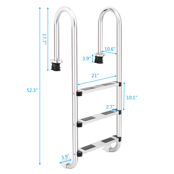2019 3 Step Swimming Pool Ladder Stainless Steel Pool Step Ladder With Easy  Mount Legs Swimming Pool Ladder For In Ground Pools Heavy Duty 3 Step From  ...
