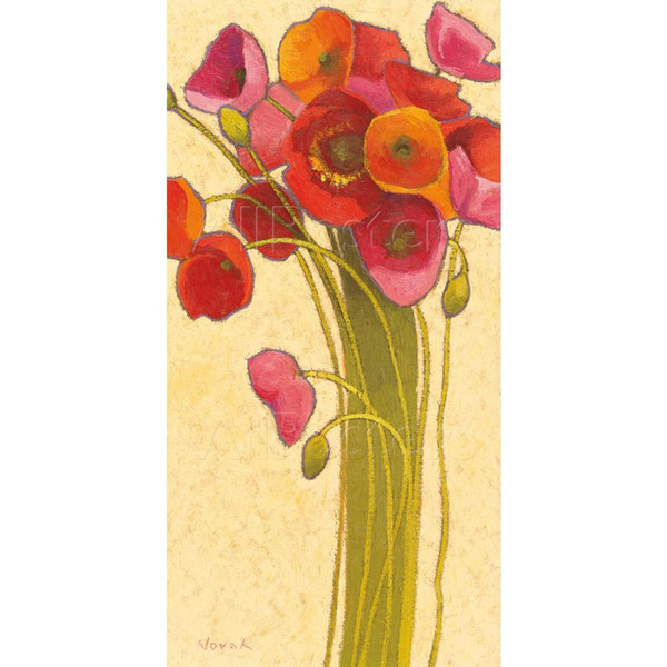 abstract Paintings flowers Amapola Barcelona Shirley Novak oil on canvas Hand painted wall decor