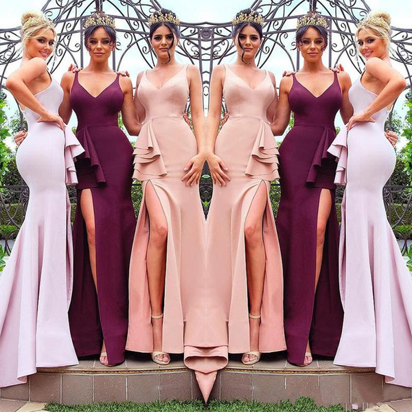 Burgundy Mermaid Long Bridesmaid Dresses 2019 Sexy High Slit Spaghetti Backless Junior Maid of Honor Beach Wedding Party Gown