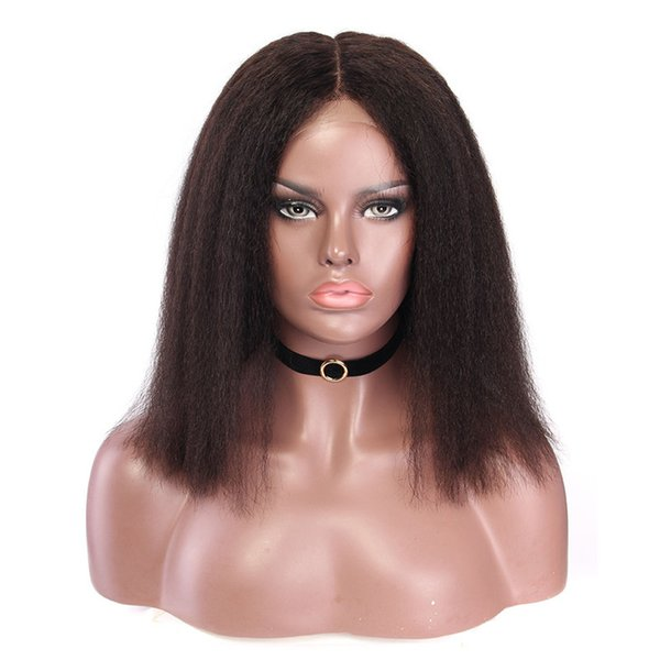 Short Beauty Full Lace Human Hair Wigs Virgin Hair Yaki Straight Lace Front Wig For Black Women natural color with baby hair