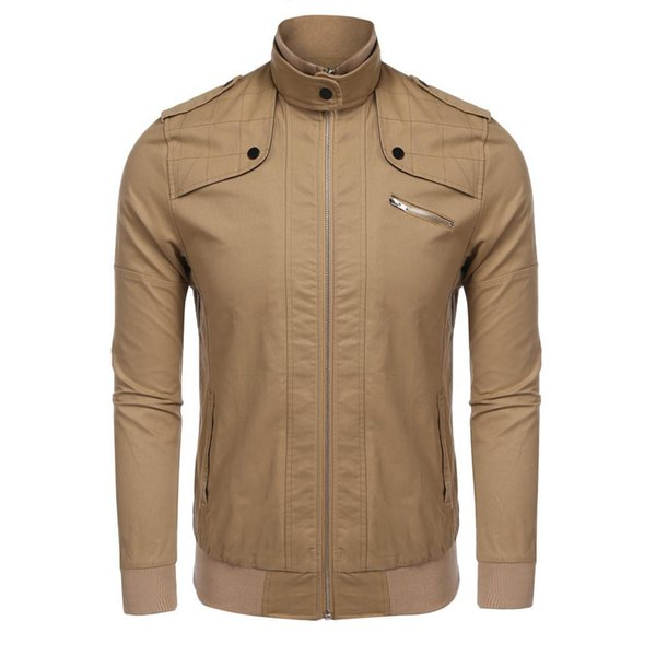 Men Fashion Stand Collar Full Zip Slim Zip, Casual Bomber Jacket /with Solid Shoulder Pocket, Zipper Straps