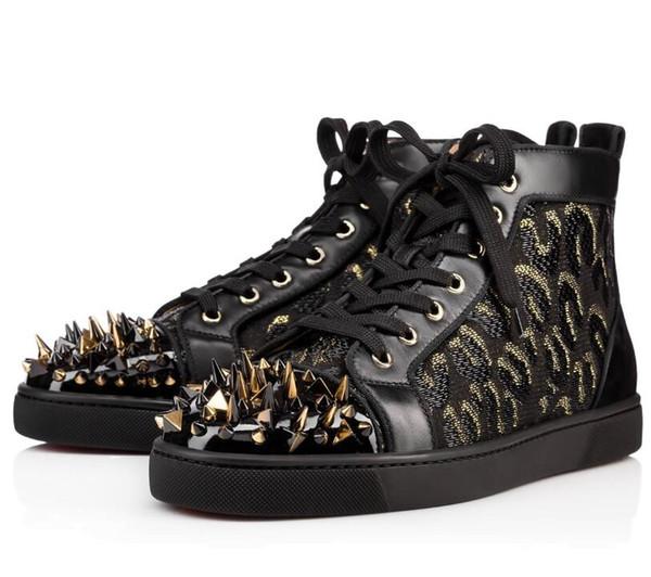 Kadın Strass Ayakkabı Kırmızı Alt Yüksek Kesim Çivili Sneaker Rhinestone Pik Pik Perçinler Klasik Studes Açık Eğitmenler Şerit Spike Casual Yürüyüş