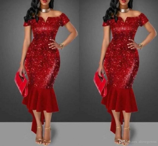 Shinning Red Sequined Prom Dresses Off Shoulder Short Sleeve Tea Length Cocktail Party Dress Sparkly Bling Bling Mermaid Hi Lo Evening Gowns