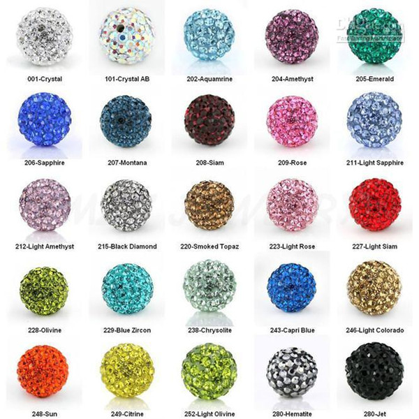 top popular Cheap! free shipping 100pcs lot 10mm Mixed Color Micro Pave CZ Disco Ball Crystal Bead Bracelet Necklace Beads. 2020