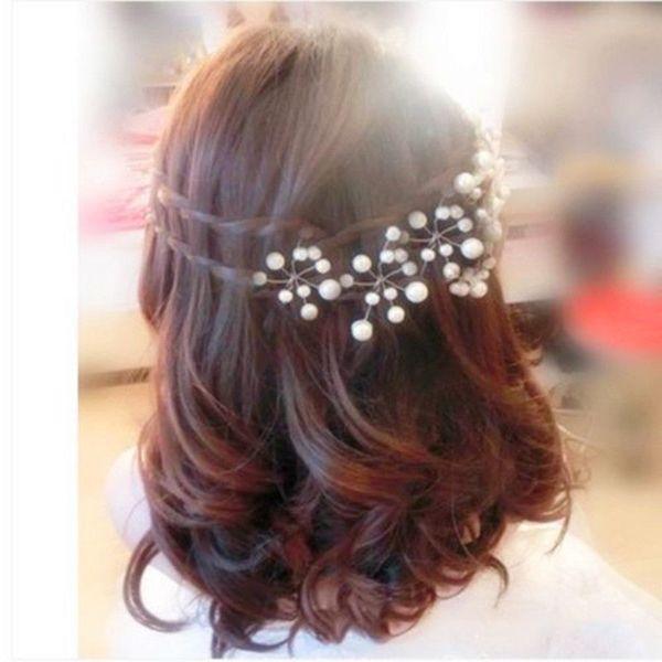 LNRRABC Femmes en alliage de zinc clair de mariée demoiselle d'honneur Simulé Perle Clips Pins cheveux fleur Type U DesignComb Bandeau