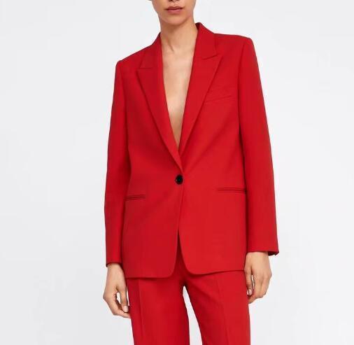 Bella Philosophie 2019 femmes Veste de costume rouge seul bouton Blazers Veste col cranté dames Blazer bureau lâche Femme Manteau