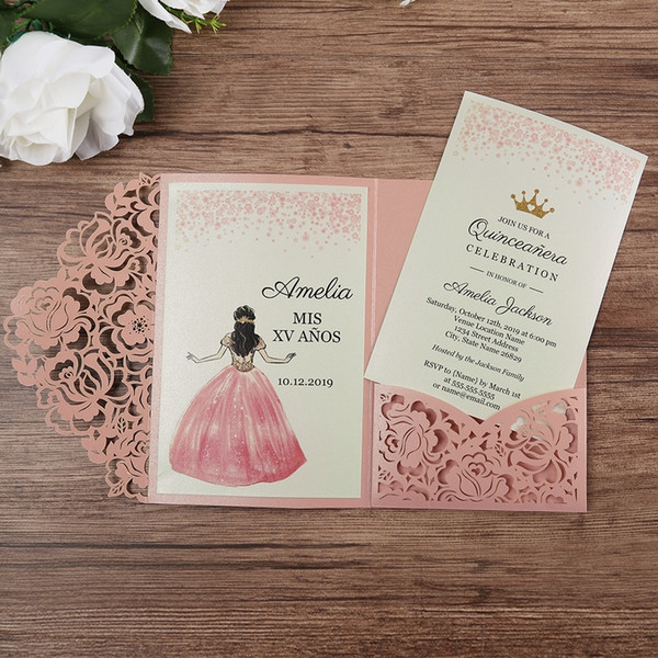 Romantic Rose Pink Laser Cut Floral Invitation Cards for Wedding Party Anniversary Baby Shower Birthday