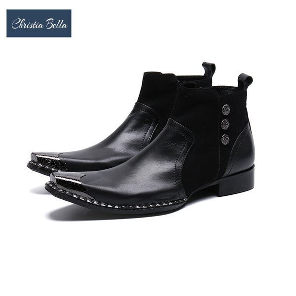 Christia Bella Solid Men Shoes Genuine Leather Boots New Fashion Patchwork Metal Pointed Toe Boots Large Size Zipper Short