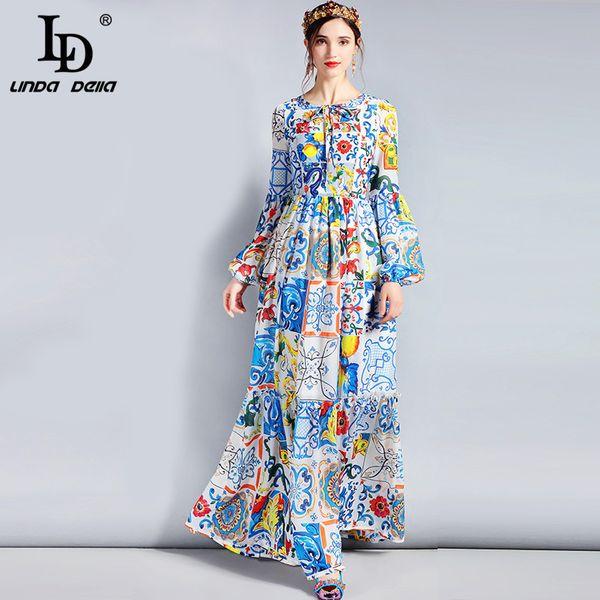 Ld Linda Della Modedesigner Maxi Kleid 3xl Plus Size Frauen Langarm Boho Bunte Blumenmuster Lässige Langes Kleid Y19012201