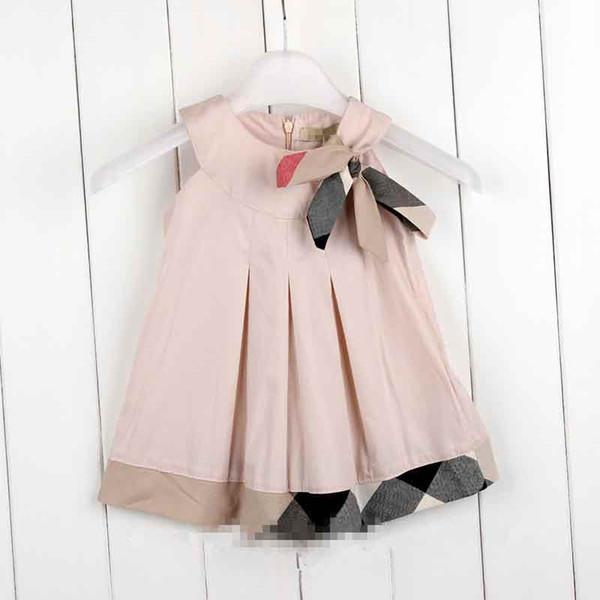 vêtements en gros filles filles bébé sans manches en coton doux robe enfants redingotes imprimé à carreaux Girs vêtements à l'arc