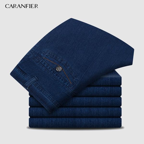 CARANFIER Erkek Kot Tasarımcı Yüksek Kaliteli Klasik Denim Pantolon Yaz Baggy 2019 Yeni Streç Kot Erkekler Moda Esneklik JeansMX190904