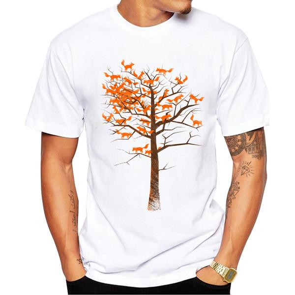 2019 Fashion Blazing Fox Tree Design T shirt Men Cool Tops Tees Short Sleeve t-shirt Hipster Foxes Cartoon Printed Camiseta