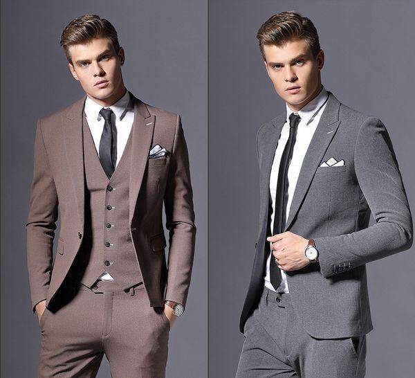 2019 Elegant Maßgeschneiderte Anzüge Für Männer Grau Formelle kleidung Männer Hochzeit Anzug Bräutigam Smoking 3 Stücke Kostüm Homme (Jacken + Pants + Weste)