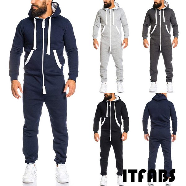Thefound 2019 New Winter Men Long Sleeve Solid Coverall One Piece Jumpsuits Pants Trouser Romper