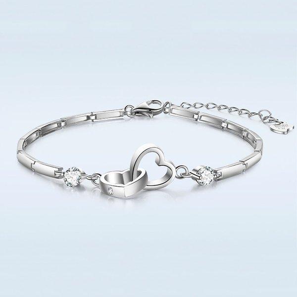 Bracelet en argent couleur double liée bracelet modèles féminins bijoux de mode rétro mignon super flash bijoux