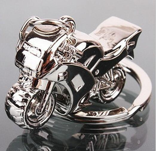 Hot 3D Model Motorcycle Key Ring Chain Motor Silver Keychain New Fashion Cute Gift Free Shipping