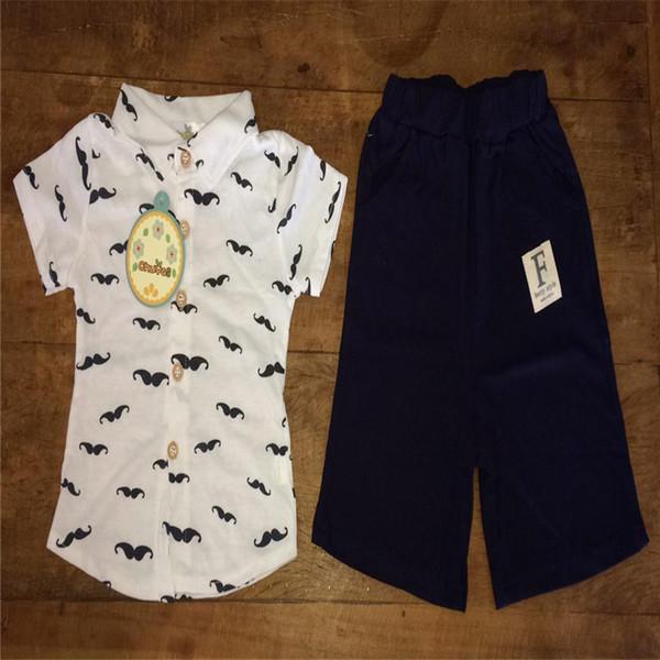 2PCS Summer Baby Clothes Toddler Kids Baby Boys Short Sleeve Beard Print T-Shirt Tops+Shorts Pants Set Boy Sets Clothes M8Y30#F
