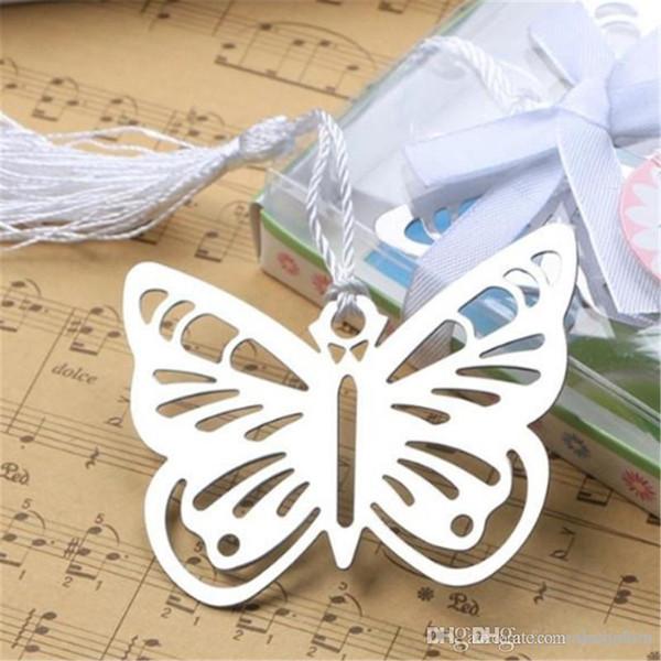 100 pezzi pratici lettura essenziale metallo farfalla segnalibro con nappe Boxed Immagine Colore segnalibro del metallo bookmarks vuoto-fuori 2019032415
