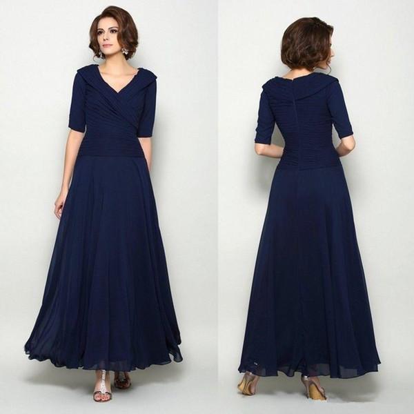 Plus la taille marine foncé bleu mère des robes de mariée col en V pleine longueur manches demi robes de mariée robes de mariée une ligne robes de soirée pas cher