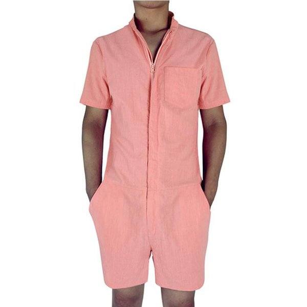 Summer Fashion Short Sleeve Mens Rompers Male Jumpsuit Cargo Short Pants Boyfriend Zip Trousers Party Overalls In Stock Dropship