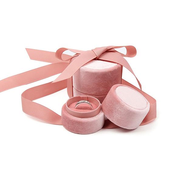6 unids / lote Nueva caja de joyería de terciopelo rosa de alta calidad, anillo creativo / caja de collar, caja de regalo de embalaje de joyería de matrimonio
