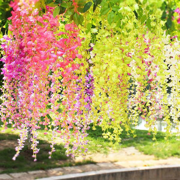 YO CHO Flor Artificial Vine Wisteria Flor Colgando Plantas Seda de la Boda Guirnalda Fake Planta Verde Home Garden Wall Cerca de la escalera Decoración