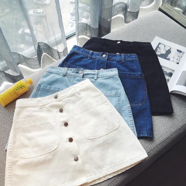 Jupe Jeans Femme Mini Taille Haute Solid A-Line Poches Nouveau