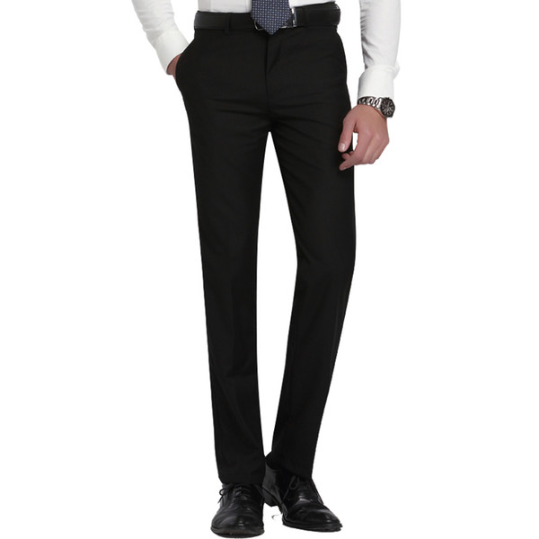 Men's Slim Fit Flat-front Suit Separate Pant Formal Wedding Business Straight Male Trousers Light Grey Thin Office Dress Pants Q190427