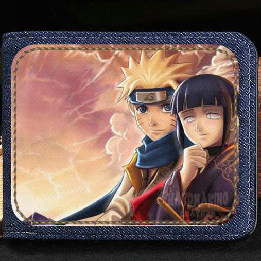 Hyuga Hinata wallet Naruto style purse Anime short cash note case Money notecase Leather burse bag Card holders