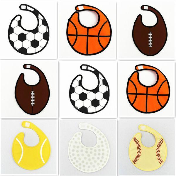 Softball Baby cartoon bibs Baseball Tennis Basketball Rugby Golf 6styles Infant 100% cotton waterproof bib three layers C01