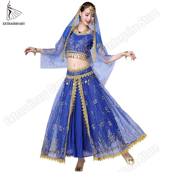 New Women Indian Belly Dance Costume Set Dance Sari Outfit Bollywood Stage Performance Chiffon Top Belt Skirt Bellydance