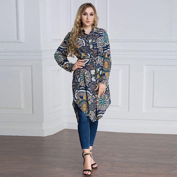 Femminile Robe Africaine stampa floreale Plus Size camicetta abiti di moda africani islamici per le donne Abaya Turchia Kaftan