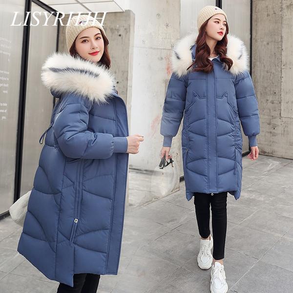 Long Coats & Jackets Slim Women Parka Winter Fur Collar Hooded Coat Female Winter Jacket Women Coat Warm Outwear