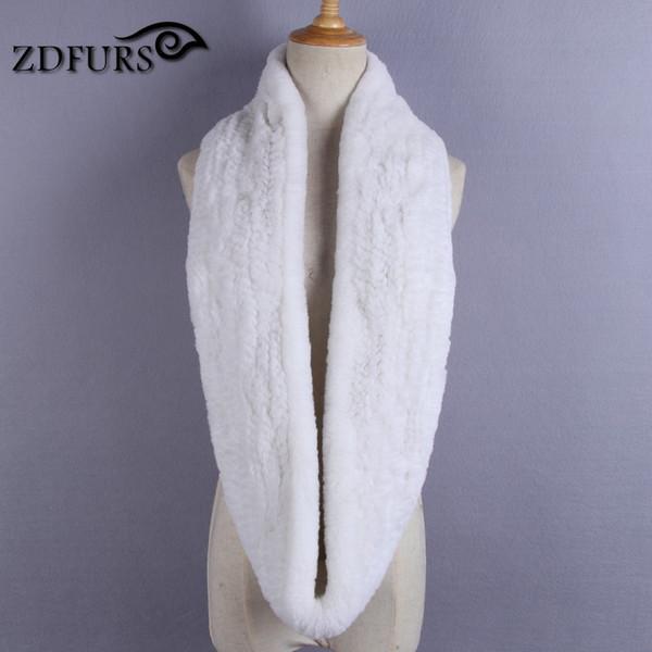 ZDFURS * femmes Infinity écharpe en fourrure véritable véritable tricoté rex fourrure de lapin hiver hommes écharpe à la main noir gris