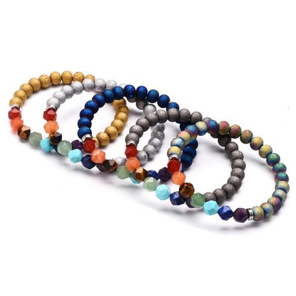 Natural stone Yoga Reiki 7 Chakra Bracelet 5 Styles Trendy Energy Crystal Agate Bracelets Women Men Jewelry Support FBA Drop Shipping M192R