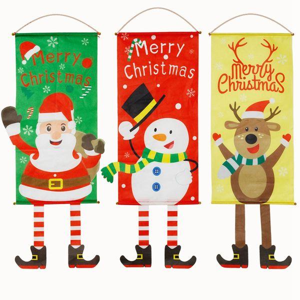 Compre 6 Estilo Do Natal Da Bandeira Dos Desenhos Animados Cervos Boneco Imprimir Janela Tapeçaria Bandeira Decoração Xmas Party Banner Home Garden