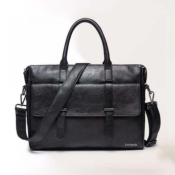 Simple Famous Brand Business Men Briefcase Bag Luxury Leather Laptop Bag Man Shoulder bolsa maleta BIG001 PM49