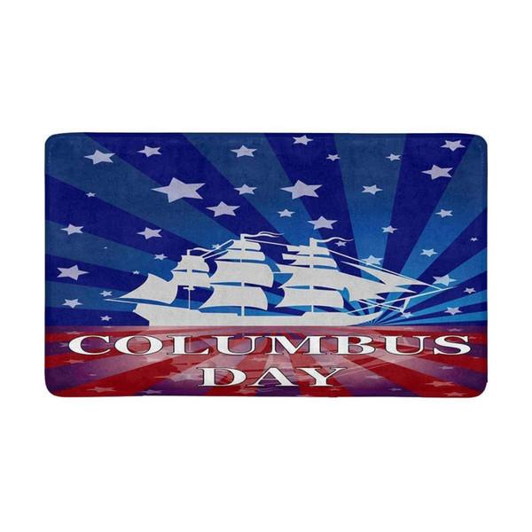 Christopher Columbus Day Indoor Doormat Non Slip Front Entrance Door Mat Rug Dodgers Door Mat Kitchen Mats for Floor