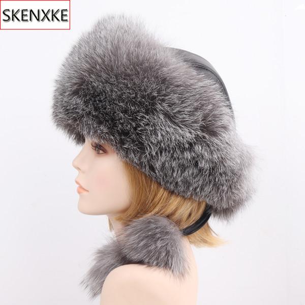 2019 nuovo stile inverno russo 100% naturale reale cappello di pelliccia di volpe donne qualità vera pelliccia di volpe berretti cappelli caldi genuini