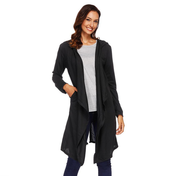 Open Winter Fashion Women Cardigans Coat Collar Solid Front Sleeve Long Casual Hooded design Black