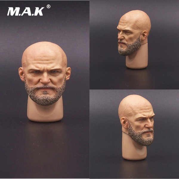 1/6 Scale Male Soldier Head Carved Accessory Man Head Sculpture Bearded Head Sculpt Model for 12'' Action Figure Body