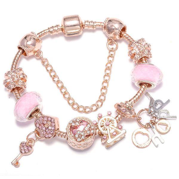 best selling Fashion luxury designer key heart letter diamond crystal DIY European beads charm bangle bracelet for woman girls rose gold