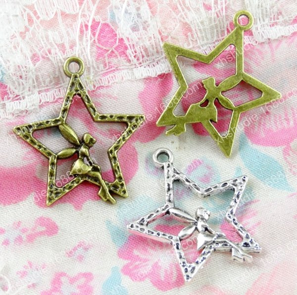 60pcs 29.2*25.2MM bronze silver tone angel star flying fairy charms for bracelet vintage metal pendants earring handmade DIY jewelry making